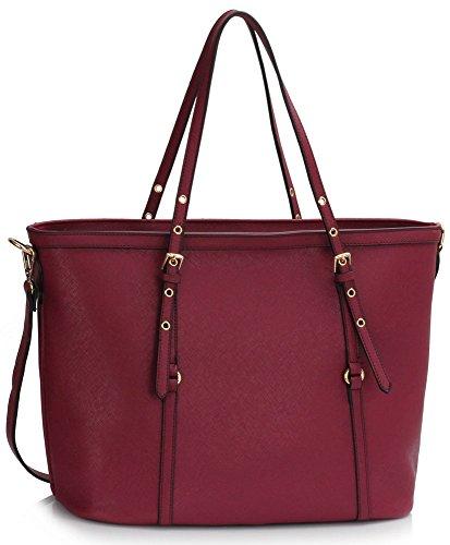 LeahWard Donna Fashion Buckle Detail Borse a tracolla Borse Oversize Tote Borsa Borse Scuola 424 (Burgundy)