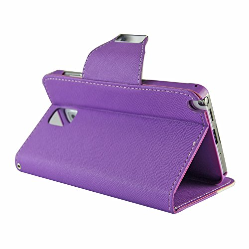 myLife Fluorescent Purple {Sassy Design} Faux Leather (Card, Cash and ID Holder + Magnetic Closing) Slim Wallet for Galaxy Note 3 Smartphone by Samsung (External Textured Synthetic Leather with Magnetic Clip + Internal Secure Snap In Closure Hard Rubberized Bumper Holder)