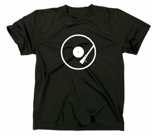 Black DJ T-Shirt with a graphic of vinyl on a turntable
