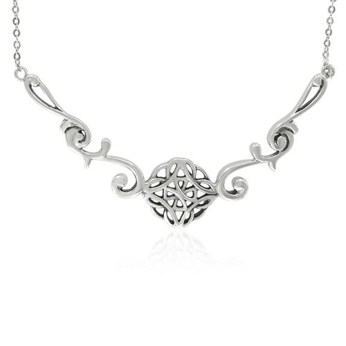 Sterling Silver Celtic Filigree Round Necklace, 20.5