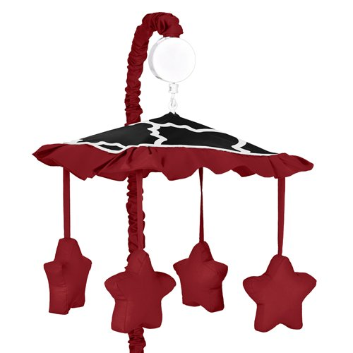 Red, Black And White Trellis Print Lattice Musical Baby Crib Mobile By Sweet Jojo Designs