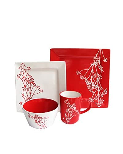 American Atelier Blossom Branch 16-Piece Dinnerware Set, White/Red