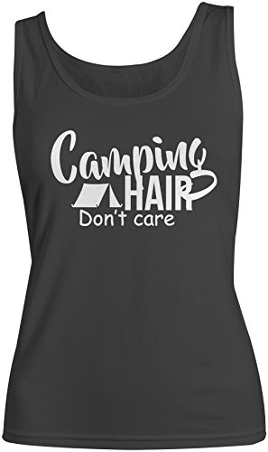 Camping Hair Don't Care Donna Tank Top Canotta Nero Small