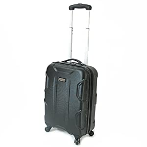 Karabar Cabin Approved Hard Suitcase 55 x 38 x 20 cm all parts included - 3 Years Warranty! (Black Atom)