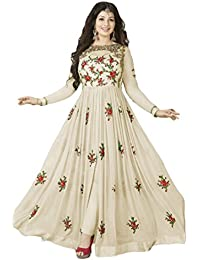 Generic Women'S Georgette Anarkali Dress Material (Err10216_Off White_Free Size)