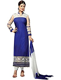 Choclaty Women's Blue And White Color Embroidery Dress Suit