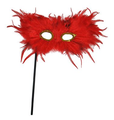 Venetianische Maske - mit Federn auf einem Stab - rot mit goldener Augenumrandung - Karneval Kostüm Zubehör Accessoires - Atrumpa