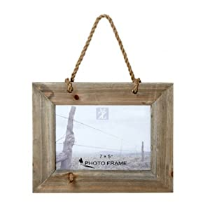 "7x5"" Driftwood Rustic Hanging Photo Frame With Rope ..."