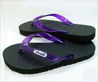 Mens and Womens Locals Mele Flip Flops from Hawaii (US Mens 5 / Womens 6, Purple)