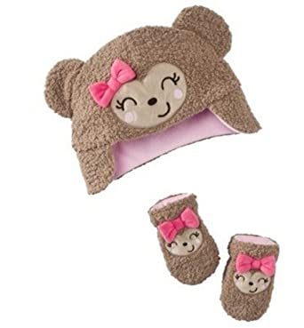 Just One You by Carter's Girls Hat and Mitten Set - Monkey (Small (0-3 Months))