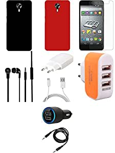NIROSHA Tempered Glass Screen Guard Cover Case Charger Headphone for Micromax Canvas Express 2 - Combo