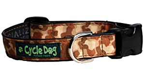 Recycled Bicycle Tube Dog Collar by Cycle Dog - Brown Camouflage - Large