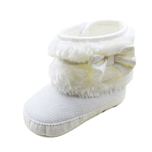 Weixinbuy Baby Girls Fur Fleece Snow Bowknot Soft Sole Boots Crib Shoes 6-12M