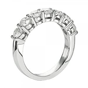 1.40 Carat Shared Prong Diamond Wedding Ring in 14k White Gold - Lesbian Wedding Band