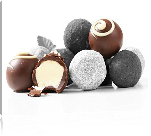 Pleasurable boules de truffe au chocolat noir / blanc, Taille: 120x80 sur toile, XXL énormes Photos complètement encadrées avec civière, impression d'art sur murale avec cadre, moins cher que la peinture ou une peinture à l'huile, pas une affiche ou une bannière,