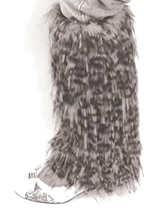 EH9131WL - Leopard Print Faux Fur Leg Warmers / Boot Covers / Boot Sleeves ( 3 Colors ) - White/One Size