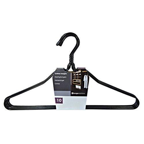 Kleiderbügel aus Metall Draht - 10 Stück - schwarz - pulverbeschichtet - preisgünstig und trotzdem stabil - ideal für Blusen und Hemden