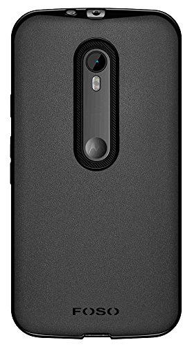 for Motorola [ 3rd Generation Moto G3 ] / [ Moto G Turbo ] FOSO(TM) Pudding TPU Back Case - Solid Black Protective Phone Cover Shell