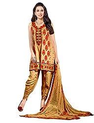 Sancom Golden UnStitched Georgette Dress Material