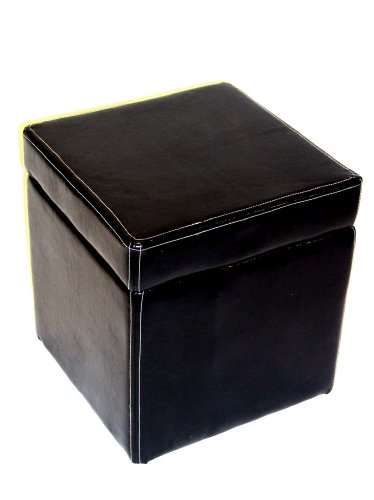4D Concepts Faux Leather Box Ottoman With Lift Top, Black front-649466