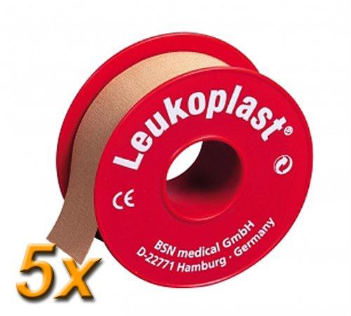 5x Leukoplast stark klebendes Fixierpflaster, je 1,25cm x 9,2m / Zum zuverlässigen Befestigen von Verbänden / Wasserabweisend / Luftdurchlässig / 5 Rollen