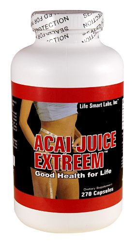 ACAI Juice Extreem -270 CAPSULES 100% PURE, 4 times MORE potent for each MG ACAI Berry Natural Nutrition, Energy and also used for Weight Loss Detox Diet , 1300 Mg