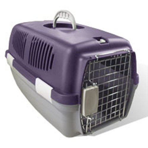 Portable Pet Carrier Hard Pet Carring Case (Grey/Purple)