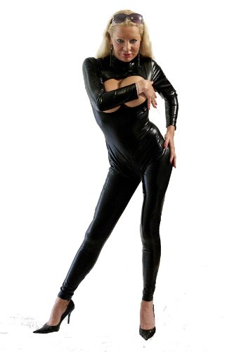 I-Glam Sexy Wetlook Back to Crotch 2 Way Zipper Catsuit Lingerie Open Bodysuit