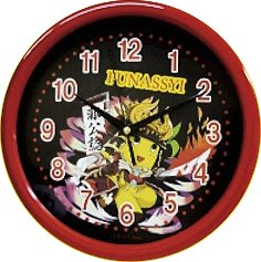 船橋市 非公認 ご当地 ゆるキャラ ふなっしー 壁掛け時計 ブラック【ご当地ゆるキャラグッズ】ウォールクロック