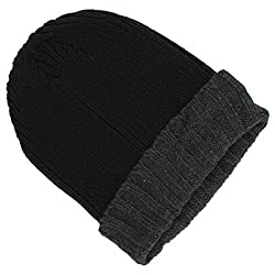 Croft & Barrow Knit Beanie Winter Hat Colorblock Black/ Grey One Size