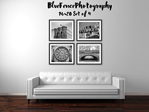 New York City Set of Four, Photography NY Art Photograph Print Home Wall Decor, Brooklyn Bridge, New Yorker Hotel, Stained Glass, Greyshot Arch in Central Park (Hotel Park City compare prices)