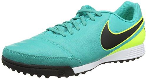 Nike Tiempox Genio II Leather TF, Scarpe da calcio Uomo, Turchese (Clear Jade/Black/Volt), 44.5 EU