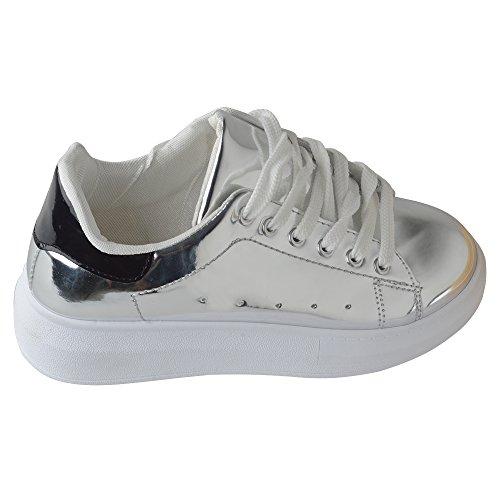 Spritech(TM) Men Women Unisex Fashion PU Leather Lace Up Lovers Casual Flat Sneaker Shoes Silver 36