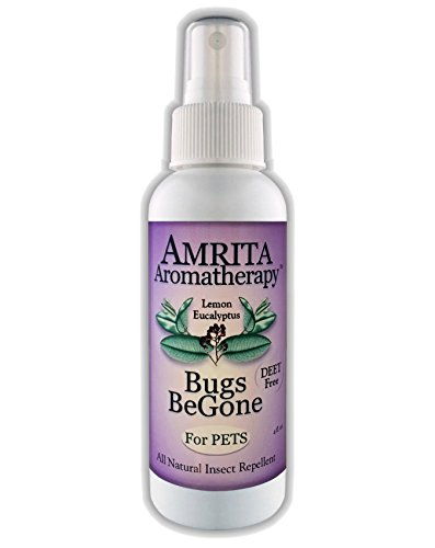 Amrita Aromatherapy: Bugs BeGone for Pets - Includes Essential Oils, DEET-Free & Pet Safe Natural Insect Repellent & Non-Toxic Bug Spray: Mosquito, Flea, Tick & Chigger Deterrent (Size 120 ml)