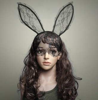 Sexy Lace Rabbit Ears Hair Hoop Hair Band Party Dance Mask/Black