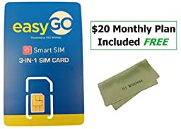 EasyGo Triple Cut Nano / Micro / Standard SIM Card w/ $20 Month Unlimited Call/Text w/ 4G LTE Data Plan. Easy Go AT&T Towers Powered by H2O Preloaded Activation Kit($20 Monthly Plan)
