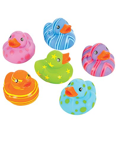 "Rhode Island Novelty 2"" Multi-Color Pattern Rubber Duck (12 Piece) - 1"