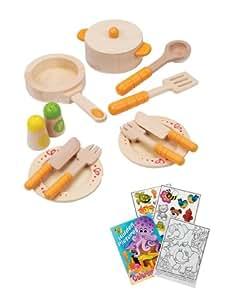 Hape e3103 gourmet kitchen starter wooden play for Kitchen set toys amazon
