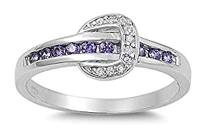 Sterling Silver Buckle Ring with Clear and Amethyst CZ - size 5