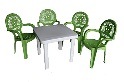 Resol Childrens Kids Garden Outdoor Plastic Chairs & Table Set - Green Chairs, White Table - Childs Furniture (Pack of 4 Chairs & 1 Table)