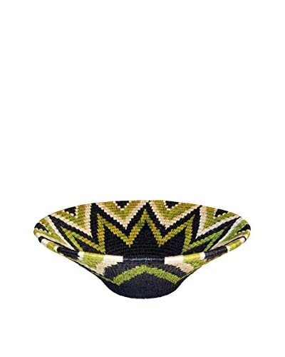 Asian Loft Large Green Hand-Woven Lutindzi Grass Wicker Bowl, Green/Black/White/Brown