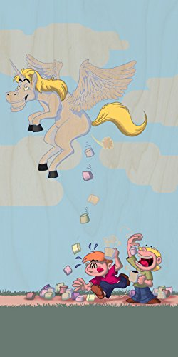 """""""Pegacorn Marshmallows"""" Funny Unicorn Cartoon Pooping Candy - Plywood Wood Print Poster Wall Art front-346077"""