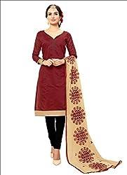 YOUR CHOICE Chanderi Cotton Pink Plain Women's Straight Suit DRMN111