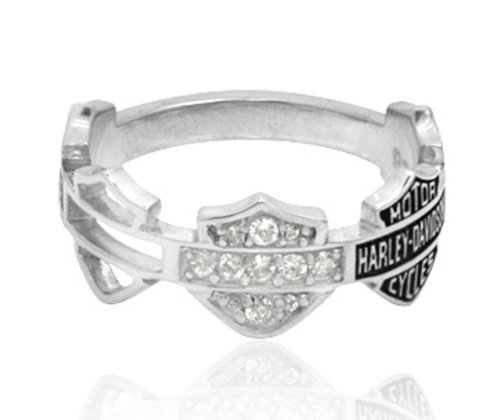 Harley-Davidson .925 Silver Multi B&S Band Womens Ring (5)