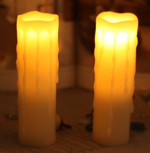 Dfl 1-3/4*6 Inch Melted Edge Dripping Flameless Real Wax Votive Led Pillar Candle,Work With 2 Aa Battery,Ivory,Pack Of 2