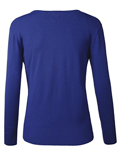 BIADANI Women Button Down Long Sleeve Soft V-Neck Cardigan Sweater Cobalt XX-Large