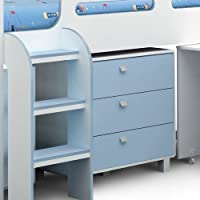 Happy Beds Kimbo White And Sky Blue Finished Sleep Station Childrens Kids Bunk Bed 3' Single Frame