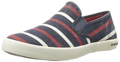 SeaVees Men's Baja Slip On Catalina Stripe Fashion Sneaker,Deep Ocean,7 M US
