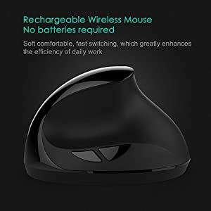 Vertical Mouse, 7Lucky Small Rechargeable Ergonomic Wireless Mouse 2.4GHz High Precision Optical Mice : 3 Adjustable DPI Levels, 6 Buttons for PC, Desktop, Laptop,?for Small Hands?- Black (Color: black)