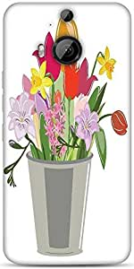 Snoogg Abstract Spring Illustration With Lots Of Flowers Designer Protective Back Case Cover For HTC M9 Plus